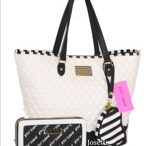 Betsey Johnson quilted bone tote /travel wallet